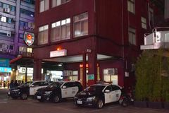 Taiwanese police station on street at Ximending market in night. Taipei Taiwan March, 30 2019 : Taiwanese police station on street at Ximending market in night stock photo
