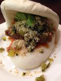 Taiwanese pork bun. Ge bao - famous Taiwanese appetizer Stock Photo