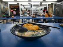Taiwanese Ramen Noodle Soup with pork schnitzel in restaurant royalty free stock image
