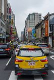 Taiwanese taxi in a traffic jam Royalty Free Stock Photos