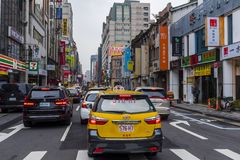 Taiwanese taxi in a traffic jam Stock Image