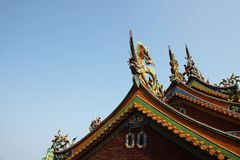 Taiwanese temple roof royalty free stock photos