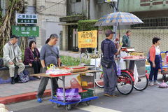 Taiwanese vendors selling groceries at the roadside stall Royalty Free Stock Photography