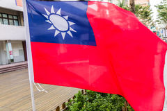 Taiwanesflaggor som blåser i vinden Arkivfoton