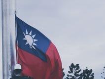 Taiwanesisk flagga på en mast Fotografering för Bildbyråer