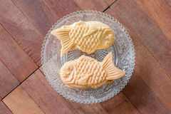 Taiyaki cakes on wood background,Japanese confectionery Royalty Free Stock Image