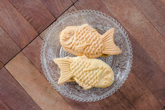 Taiyaki cakes on wood background,Japanese confectionery Stock Photo