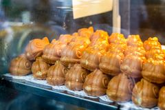 Taiyaki, Japanese fish shaped cake on display. In London Chinatown Royalty Free Stock Image
