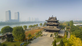 Taiyuan fenhe river autumn china. The Fenhe river in Taiyuan Shanxi China Stock Photo