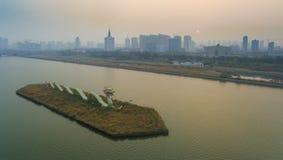 Taiyuan fenhe river city china. The Fenhe river in Taiyuan Shanxi China Royalty Free Stock Images