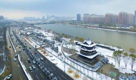 Taiyuan fenhe river winter china. The Fenhe river in Taiyuan Shanxi China Royalty Free Stock Image
