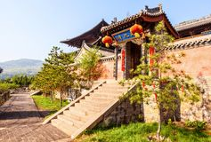 Taiyuan scene-Kaihuo temple hall. Kaihuo temple. The temple was built in A.D. 990 and rebuilt in After A.D.2000. They are located Southwest suburbs of Taiyuan Royalty Free Stock Photography