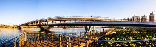 Taiyuan scene-Pedestrian bridge on th Fenhe river Royalty Free Stock Photography