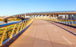 Taiyuan scene-Pedestrian bridge on th Fenhe river Stock Image