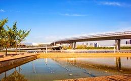 Taiyuan scene-Pedestrian bridge on th Fenhe river. Taiyuan scene. Taken in the Fenghe Park of Taiyuan, shanxi, China Royalty Free Stock Photo