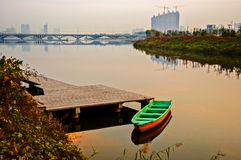 Taiyuan scene-Sunglow on the river. Taken in the Fenhe Park of Taiyuan, Shanxi, China Stock Image