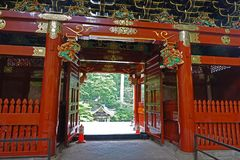 Taiyuin temple gate in Nikko, Japan. Tayuin temple gate with Suibansha fountain where Iemitsu the grand-son of leyasu, the third shogun who died in 1648 is stock image