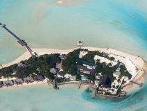 Taj Exotica, Emboodhu Finholoo, de Zuid- Mannelijke Maldiven, lucht van n Stock Afbeeldingen