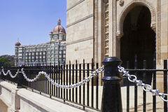The Taj India Gateway railings and Arch stock photography