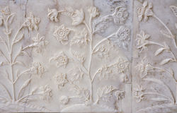 Taj Inlay. Intricate inlay and carvings in marble adorn the Taj Mahal Stock Images
