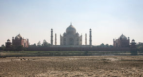 Taj Mahad in Agra, India. This photo is taken in Agra, India. The Taj Mahal, more often meaning Crown of the Palace is an ivory-white marble mausoleum on the Stock Photo