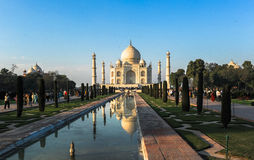 Taj Mahad in Agra, India. This photo is taken in Agra, India. The Taj Mahal, more often meaning Crown of the Palace is an ivory-white marble mausoleum on the Stock Photos