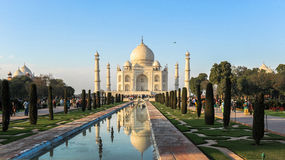 Taj Mahad in Agra, India. This photo is taken in Agra, India. The Taj Mahal, more often meaning Crown of the Palace is an ivory-white marble mausoleum on the Royalty Free Stock Photography
