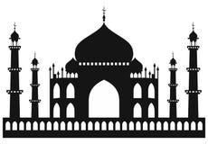Taj-mahal寺庙剪影 免版税库存照片