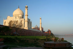 Taj Mahal. View of Taj Mahal at sunrise Agra India royalty free stock photo