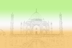 Taj Mahal. Outline overcast by the colours of an Indian Flag. Can be used as a background Royalty Free Stock Image
