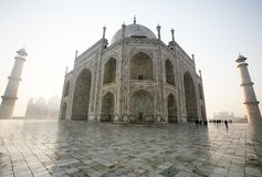 The Taj Mahal. Is a mausoleum located in Agra, India, built by Mughal emperor Shah Jahan in memory of his favorite wife, Mumtaz Mahal stock photography