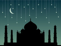 Taj Mahal. Illustration with moon and falling stars royalty free illustration