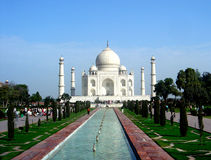 Taj Mahal. Seen here on a bright Busy day with nice foreground contrast stock images