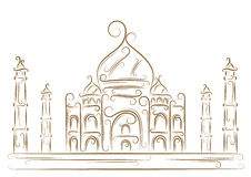 Taj Mahal. Sketch of the Taj Mahal golden brush Royalty Free Stock Photography