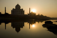 Taj mahal. River view from the beautiful wonder of the world Taj Mahal at sunset, Agra, India Stock Images