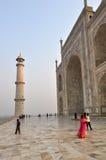 Taj Mahal ad alba Fotografia Stock