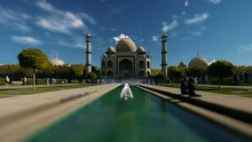 Taj Mahal against beautiful sky with tourists walking, sky drop vector illustration