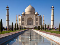 Taj Mahal in Agra. Classic view of Taj Mahal with reflections in a pond in Agra, India Stock Photos