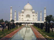 Taj Mahal, Agra, India. With reflecting pool of water leading to front of palace, constructed in 1648 as mausoleum for the Emperor Shah Jahan's favorite wife Royalty Free Stock Images