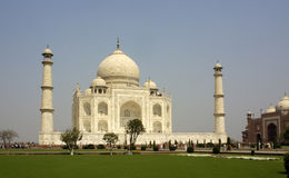 Taj Mahal at Agra, India. Side view of the Taj Mahal at Agra  India with two minarets showing Stock Photo