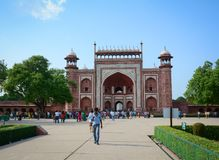 Taj Mahal in Agra, India. Agra, India - Jul 13, 2015. People visit Taj Mahal in Agra, India. The palace is an ivory-white marble mausoleum on the south bank of Royalty Free Stock Images