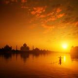 Taj Mahal Agra India auf Sonnenuntergang Lizenzfreies Stockbild