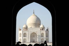 Taj Mahal through Archway. The Taj Mahal, Agra, India framed by a foreground archway Royalty Free Stock Images