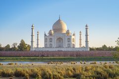 Taj Mahal in Agra, India. The Taj Mahal is an ivory-white marble mausoleum on the south bank of the Yamuna river in the Indian city of Agra. It was commissioned Stock Image