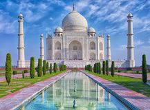 Taj Mahal in Agra, India. Taj Mahal at morning light with reflection in water in Agra, Uttar Pradesh, India