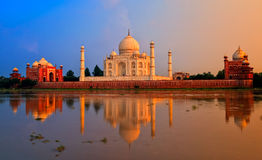 Taj Mahal, Agra, India. On sunset stock image