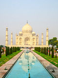 Taj Mahal, Agra, India. White marble Taj Mahal and its reflections on water royalty free stock images