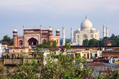 Taj Mahal and Agra. Taj Mahal and the roofs of Agra Royalty Free Stock Photography