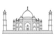 Taj Mahal, Agra, Uttar Pradesh, India: Landmark Vector Illustration Hand Drawn Cartoon Art. Taj Mahal, Agra, Uttar Pradesh, India: Landmark Vector Pencil royalty free illustration