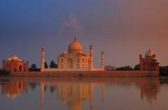 Taj Mahal al tramonto Fotografia Stock Libera da Diritti